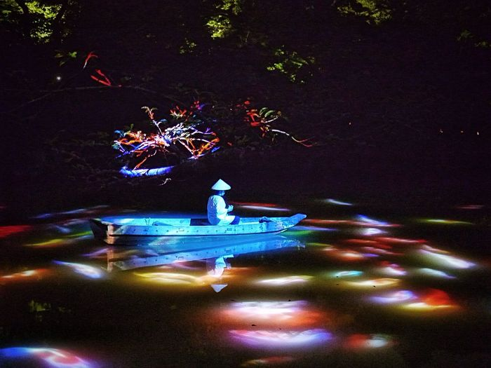 Dream at Midnight Summer : Projection Mapping Drawing Mifuneyama Rakuen pond. Takeo City Saga prefecture Kyushu region Nightphotography Elegance Everywhere Water Reflections / LEICA D SUMMILUX 25mm