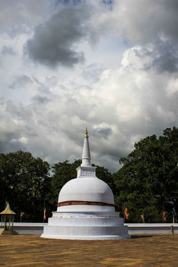 Architecture Clouds Dome Myanmar View No People Outdoors Pagoda Place Of Worship Religion Ruwanwelisaya Sky Statue Stupa Tradition White Color