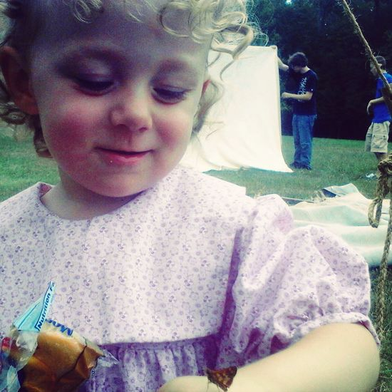 My Babygirl Having a Disney princess moment with a butterfly.