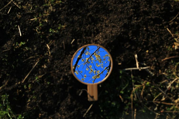 High angle view of sign on field