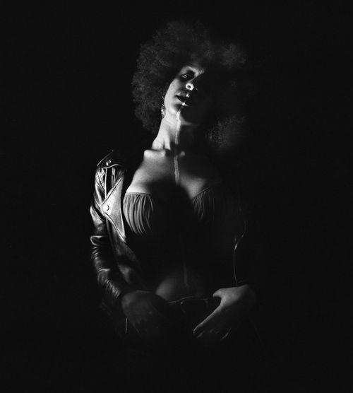 #blackandwhite #hasselblad #marcomancinistudio Analogue Photography Black Background Girl Studio Shot Young Women