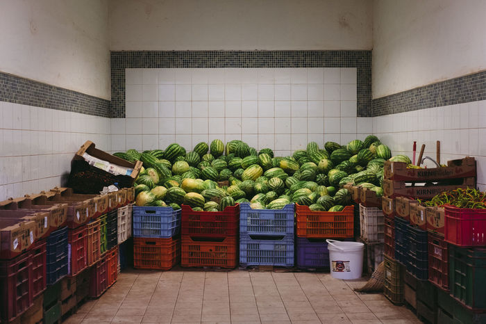 Food And Drink Wellbeing Food Healthy Eating Container Freshness Vegetable Indoors  Large Group Of Objects Retail  Choice Fruit No People Tile Flooring Watermellon  Market Green Color Streetphotography Still Life