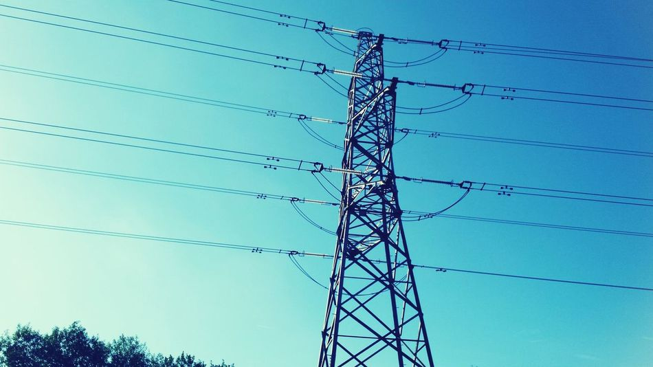 Deceptively Simple Electrickery magic ... Pylon Electricity  Electric Lines Cable Electric Power Lines Sky Tree Skyscape