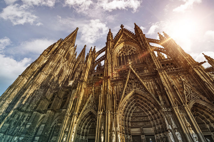 Cologne Cathedral (Kölner Dom) in the morning sun, Cologne, Germany Cologne Köln Kölner Dom Architecture Belief Building Building Exterior Built Structure Cloud - Sky Germany Gothic Style Low Angle View Nature No People Ornate Outdoors Place Of Worship Religion Sky Spire  Spirituality The Past Tourism Travel Travel Destinations