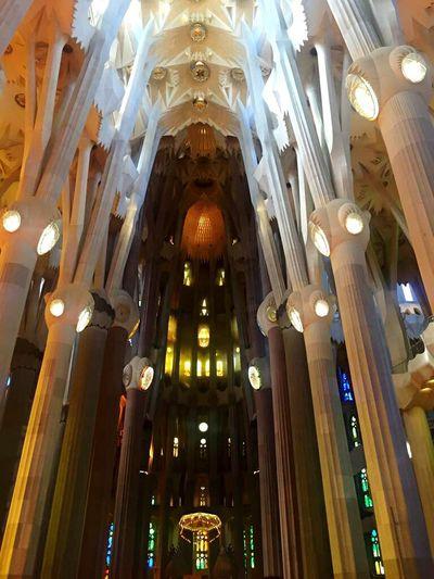 Sagradafamiliabarcelona Architecture Architectural Column Illuminated Barcelona Built Structure Low Angle View Cultures Tourist Tourism Vacations Arch Travel Destinations Architecture