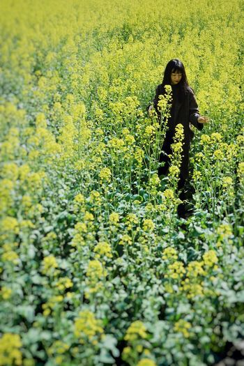 One Person Real People Field Plant Green Color Land Nature Day Growth Yellow Beauty In Nature Flower Lifestyles Leisure Activity Flowering Plant Standing