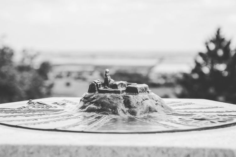 Close-up of small castle figurine