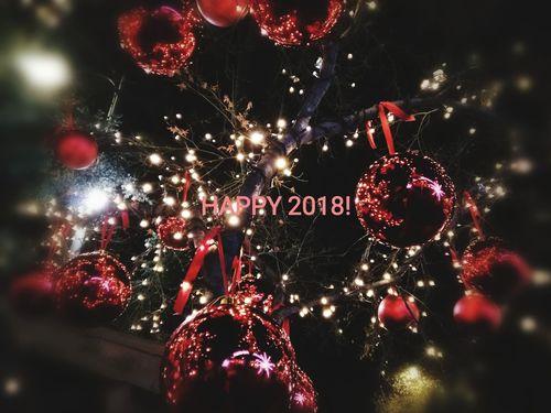 Happy 2018 Happy 2018! Celebration Night Illuminated Christmas No People Communication Christmas Decoration Christmas Tree