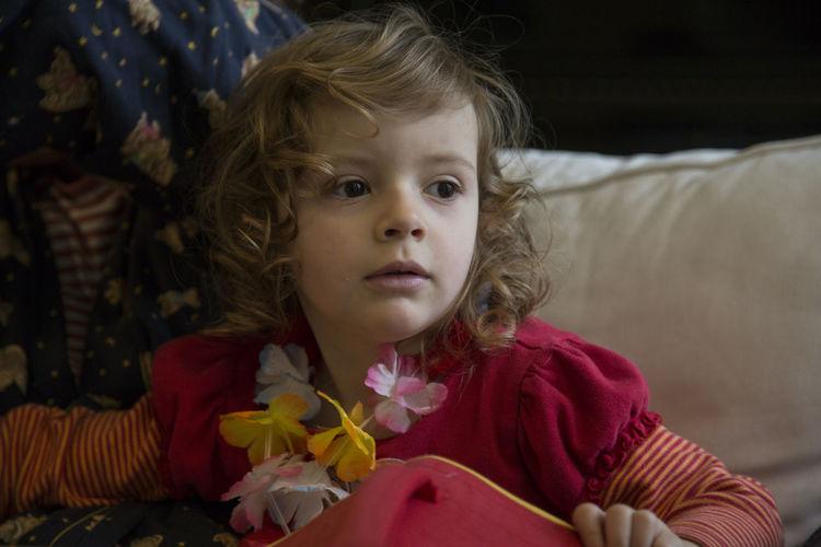 Girl Wearing Floral Garland