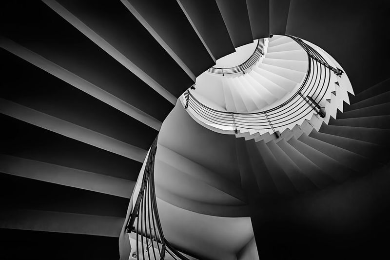 Vertigo Black & White Fine Art Photography Architecture Stairs Staircase Monochromatic Monochrome Monochrome_Monday Monochrome Photography Spiral Steps And Staircases Spiral Staircase Architecture Pattern Railing Indoors  Low Angle View Curve Metal Shape Geometric Shape Close-up Design Repetition Circle Built Structure