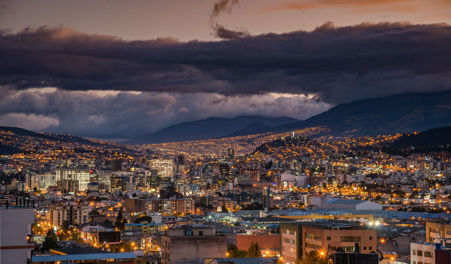 Quito Quito Ecuador Architecture Building Building Exterior Built Structure City Cityscape Cloud - Sky Crowd Crowded Dusk High Angle View Illuminated Mountain Mountain Range Nature Night Outdoors Residential District Sky TOWNSCAPE