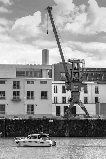 Düsseldorf, Germany Boat Built Structure Cloud - Sky Cloudy Crane Crane - Construction Machinery Cranes And Construction Day Hafen Harbor Harbour Kran Medienhafen Outdoors Rhein Rheinufer Rhine Ship Water