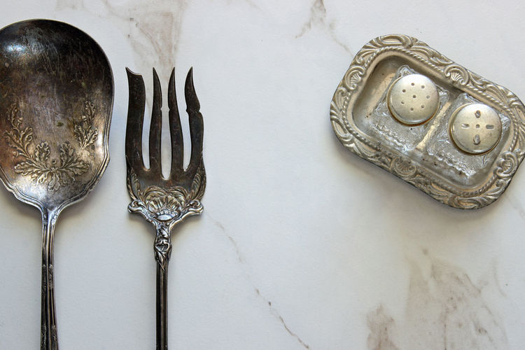 Fine dining Antique Design Dinner Party Elegant Flat Lay Fork Meal Time Menu No People Ornate Place Setting Restaurant Room For Copy Salt And Pepper Silver  Silverware  Spoon Styled Table Table Setting Tarnished Template Top View Vintage Wedding