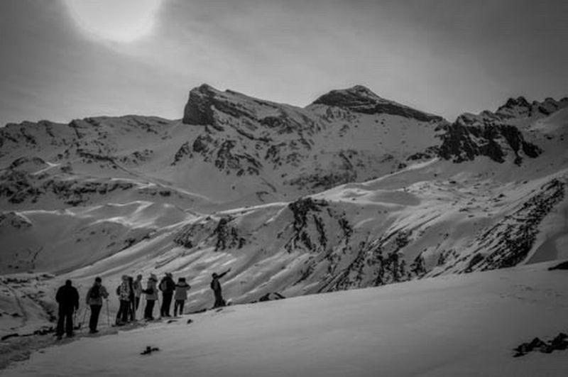 Walking Around Snow Shoeing Snow Mountains France Pyrenees Piau Engaly Noir Et Blanc Blackandwhite