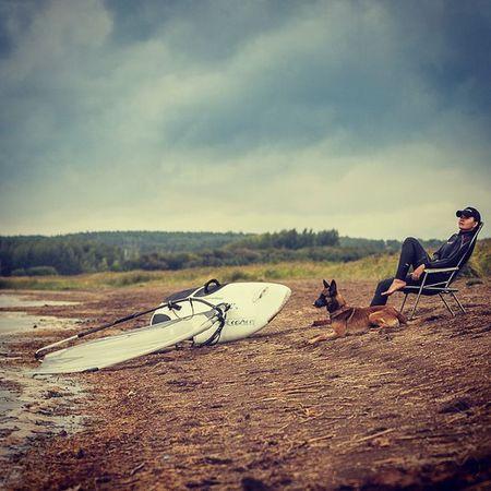 Nature Outdoors Sky Adventure Sport One Person Windserfing Serfing Dog Pet Malinois BelgianMalinois BelgianShepherd Shepherd