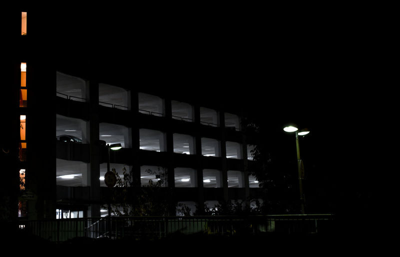 Illuminated Night Architecture Lighting Equipment Built Structure No People Window Dark Glass - Material Building Building Exterior Outdoors Silhouette Domestic Room Low Angle View Reflection In A Row Parking Garage It's About The Journey