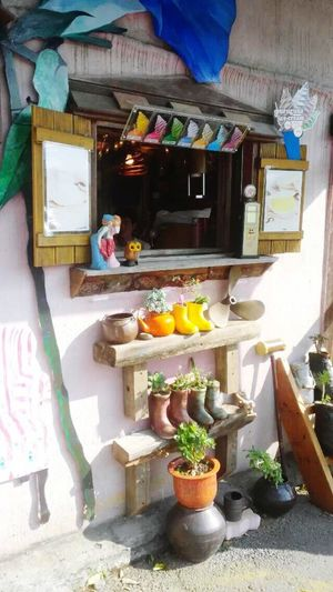Small Village Colorful Decoration Rainboots Plant Ice Cream Shop Light And Shadow Sunshine Shinning Bright