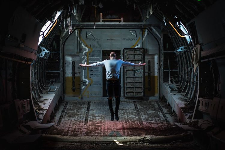 Full Length Of Man Jumping In Ship