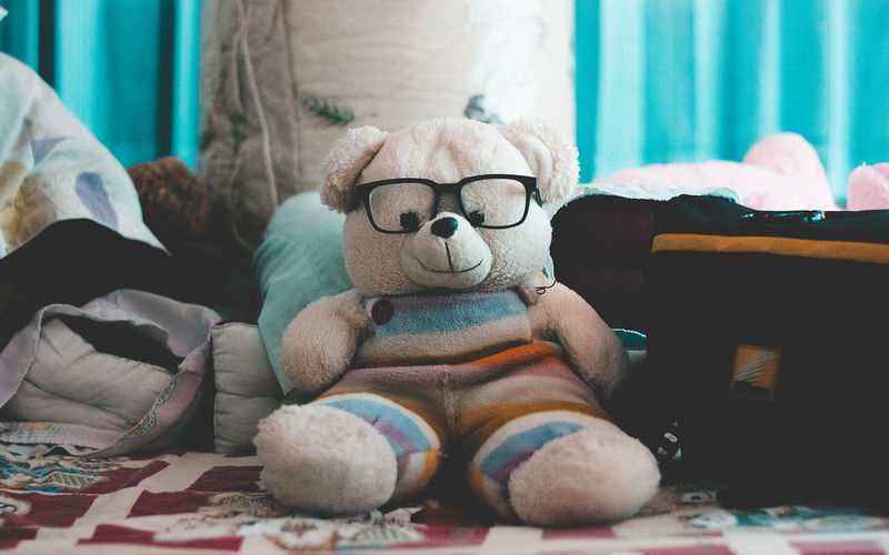Stuffed toy on sofa at home