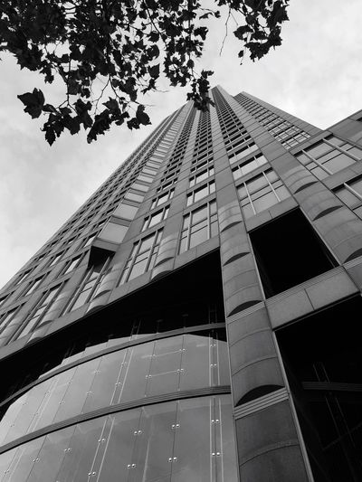 Building Exterior Architecture Built Structure Low Angle View Sky No People Outdoors City Blackandwhite Messeturm Frankfurt Am Main Frankfurt Welcome To Black Skyscraper Night Architecture City Perspective View The Architect - 2017 EyeEm Awards