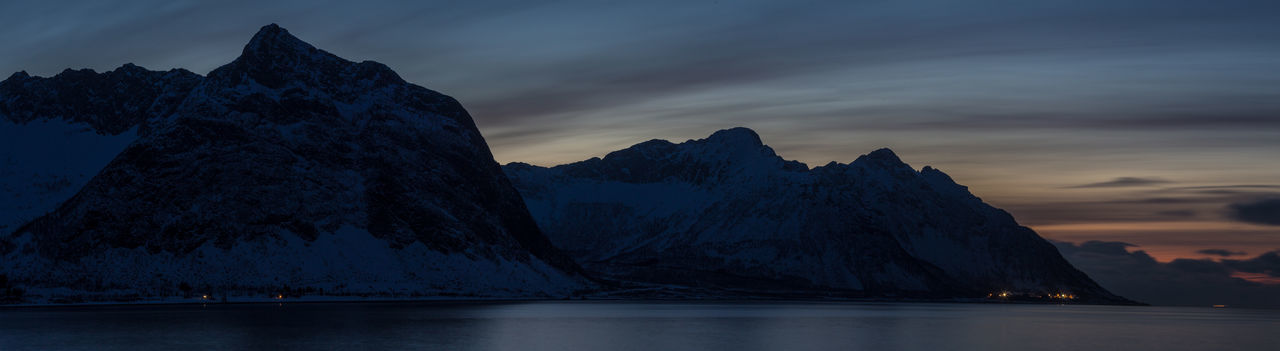 Geology Hill Horizon Over Land Horizontal Symmetry Landscape Majestic Mountain Mountain Range Nature Nature Night Photography Non-urban Scene Northern Norway Norway Outdoors Physical Geography Remote Scenics Sunset Tranquil Scene Tranquility Winter Landscapes With WhiteWall The Great Outdoors - 2016 EyeEm Awards