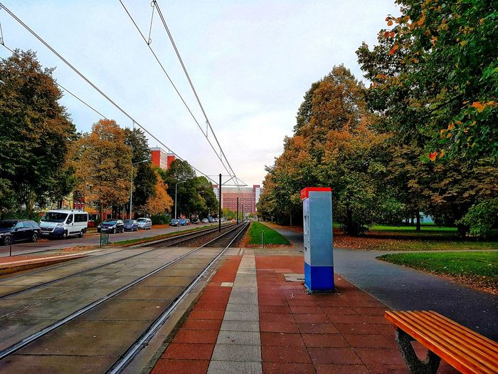No People Tree Outdoors Sky Day Cityscapes Cloud - Sky City Street Rostock Rostock 2017 Details And Colors EyeEm Best Edits Trees Building Cars Street City Collection Rostock City Autumn Colorful Leaves Autumn Collection Tram Station  Bank Grass