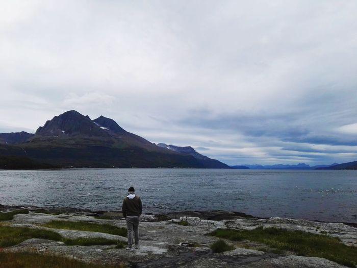 Water Mountain Full Length Men Sea Beach Standing Rear View Sky Landscape