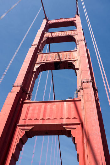 San Francisco San Francisco Golden Gate Bridge Sky Low Angle View Built Structure Architecture Blue Day No People Bridge - Man Made Structure Nature Red Bridge Metal Transportation Sunlight Industry Clear Sky Connection Outdoors Construction Industry Travel Girder