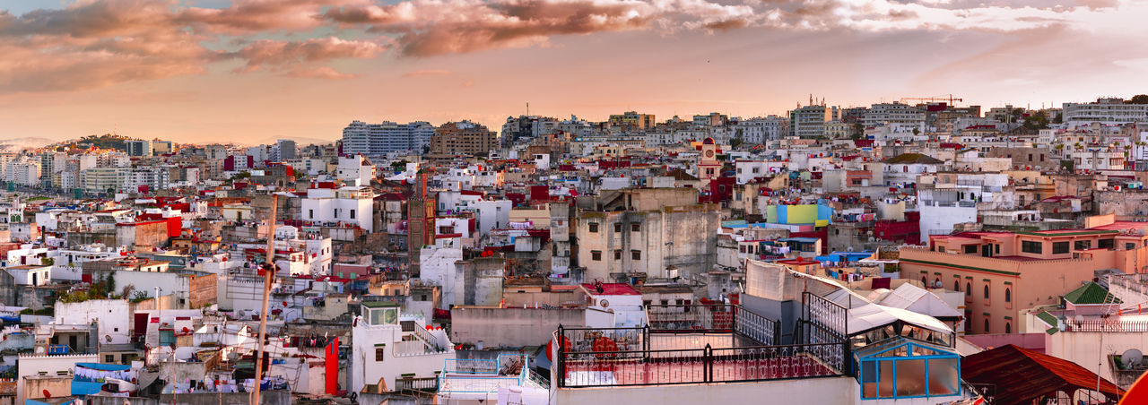 Cityscape of Tangier in dusk, Morocco, Africa. City Cityscape Morocco Panorama Sunset_collection Tangier Africa Culture Dusk Dusk In The City Residential Building Sunset