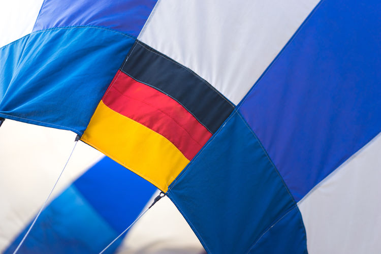 Low Angle View Of German Flag On Hot Air Balloon