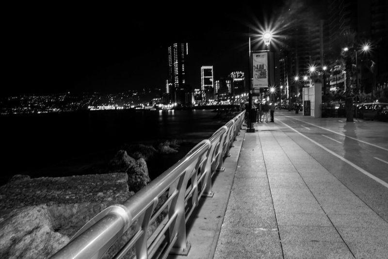 Lebanon Beirut Night Darkness And Light Blackandwhite