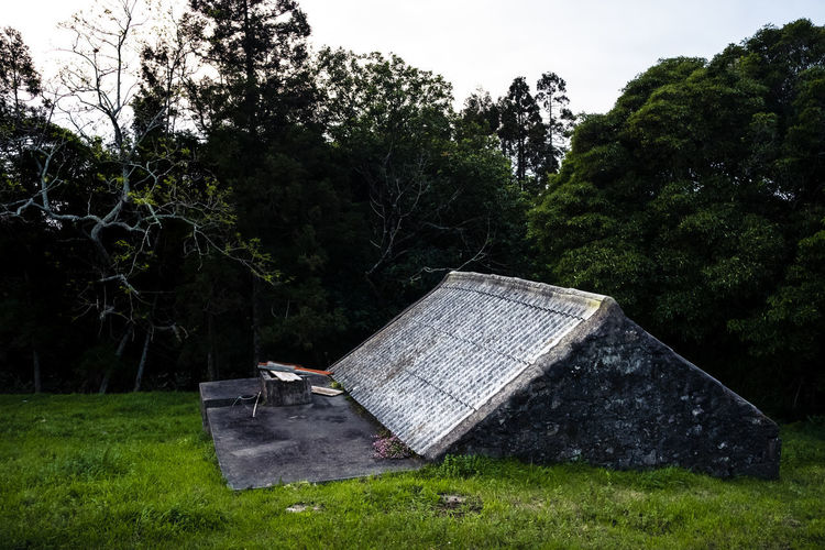Abandoned house in park against sky