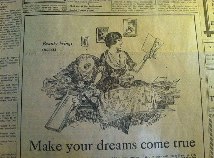 """Beauty brings success."" Part of a 1922 newspaper in Buffalo, Wyoming Hanging Out Taking Photos"