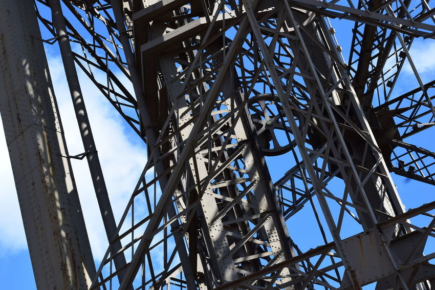 Eiffel Tower structure Alloy Architecture Bare Tree Blue Branch Built Structure Clear Sky Complexity Connection Day Electrical Equipment Girder Grid Low Angle View Metal Nature No People Outdoors Pattern Power Supply Sky Steel Technology Tower Tree
