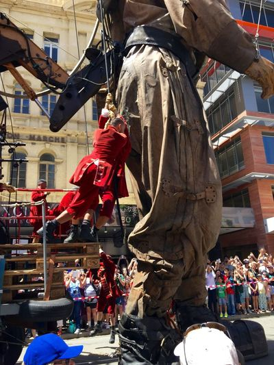 PERTH, AUSTRALIA-FEBRUARY 14, 2015: Journey of the Giants, Giant Marionette Diver and swinging puppeteers, public International Arts Festival Art Art Event Australia Australianshepherd Belts And Pulleys City Cityscape Crane Crowds Culture Diver Festival Giant Human International Journey Marionette People Puppeteers Walking Winchester Wooden