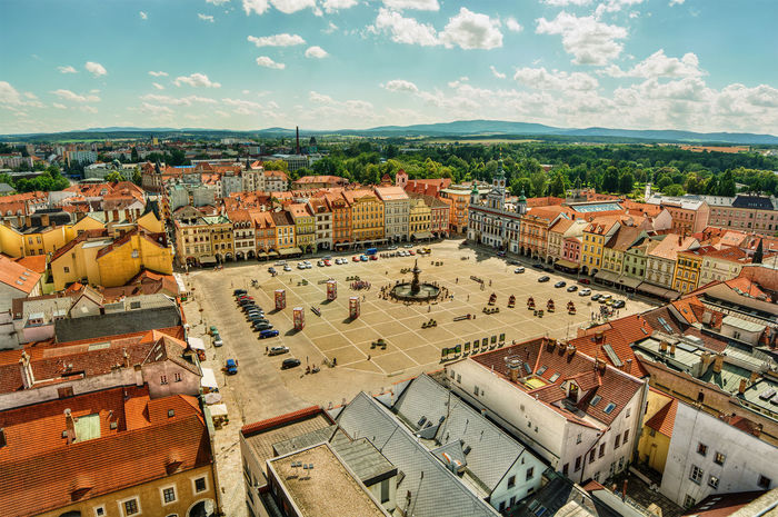 Main square of Ceske Budejovice (Czech Republic), HDR-technique Czech Czech Republic Fountain HDR Home Houses Square TOWNSCAPE Architecture Building Exterior Built Structure Ceske Budejovice City Cityscape Cloud - Sky Clouds Facades Forest High Angle View High Dynamic Range Roof Sky Town Urban Urbanity