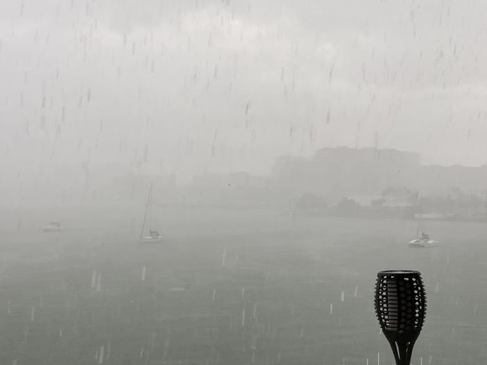 Scenic view of sea against sky during rainy season