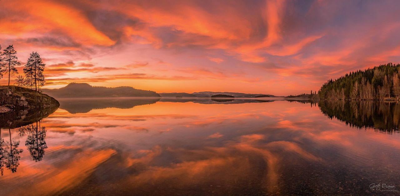 reflection, sunset, water, orange color, beauty in nature, nature, sky, tranquil scene, scenics, tranquility, cloud - sky, lake, no people, outdoors, waterfront, tree, day