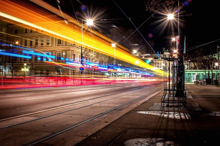 This photo is the result of a long exposure in Vienna, Austria Long Exposure Night Motion Street Light City Street Road Outdoors City Life Speed Light Trail City Transportation First Eyeem Photo