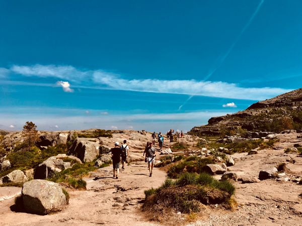 Road to Pulpit Rock EyeEmNewHere Pulpit Rock Sky Nature Day Real People Cloud - Sky Sunlight Land Lifestyles Mammal Men Beauty In Nature Leisure Activity Domestic Animals Walking Group Of People Outdoors