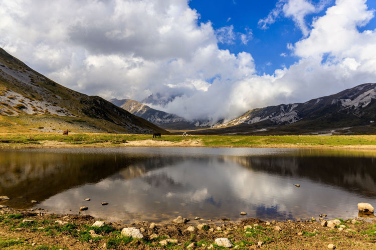 Laghetto Pietranzoni Mountain Scenics - Nature Cloud - Sky Water Beauty In Nature Sky Lake Mountain Range Environment Reflection Tranquil Scene Landscape Nature Tranquility Idyllic No People Non-urban Scene Day Remote Outdoors Snowcapped Mountain Mountain Peak Nature_collection Nature Photography