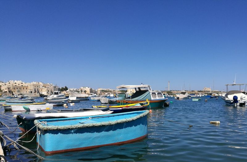 Malta Harbor Sea Water Mode Of Transport Marina Clear Sky No People Blue Transportation Travel Destinations Day Tranquility Outdoors Sailboat Sky No Filter HuaweiP9 Travel Boats And Water Boats⛵️ Birżebbuġa