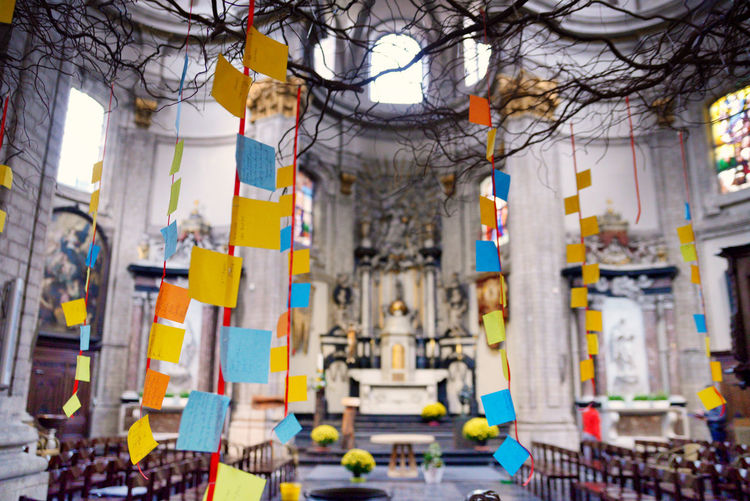 Church Inside Church Wishes Architecture Bare Tree Branch Building Built Structure City Day Focus On Foreground Hanging In A Row Multi Colored Nature No People Outdoors Plant Street Tree Tree Trunk The Traveler - 2018 EyeEm Awards