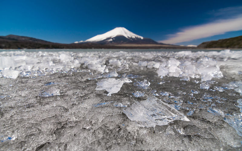 Japan Beauty In Nature Blue Cold Temperature Day Environment Fuji Ice Land Landscape Mountain Mountain Peak Nature No People Non-urban Scene Outdoors Salt Flat Scenics - Nature Sky Snow Snowcapped Mountain Tranquility Winter