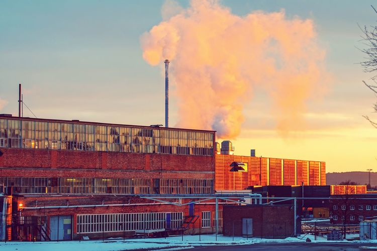 The local factory the main business of the towns history.. EyeEm Gallery EyeEm Best Shots Norway EyeEm Selects City Cityscape Red Sky Architecture Building Exterior Built Structure Chimney Rooftop Atmospheric Cooling Tower Air Pollution Environmental Damage Global Warming