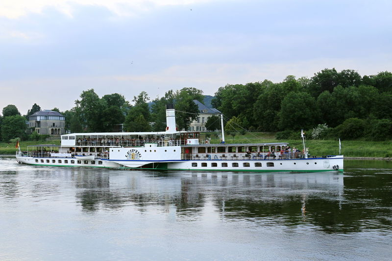 Dampfer Leipzig auf der Elbe Elbe River Beauty In Nature Cloud - Sky Day Mode Of Transportation Nature Nautical Vessel No People Outdoors Passenger Craft Plant Reflection River Sky Steam Ship Steamer Transportation Travel Tree Water Waterfront