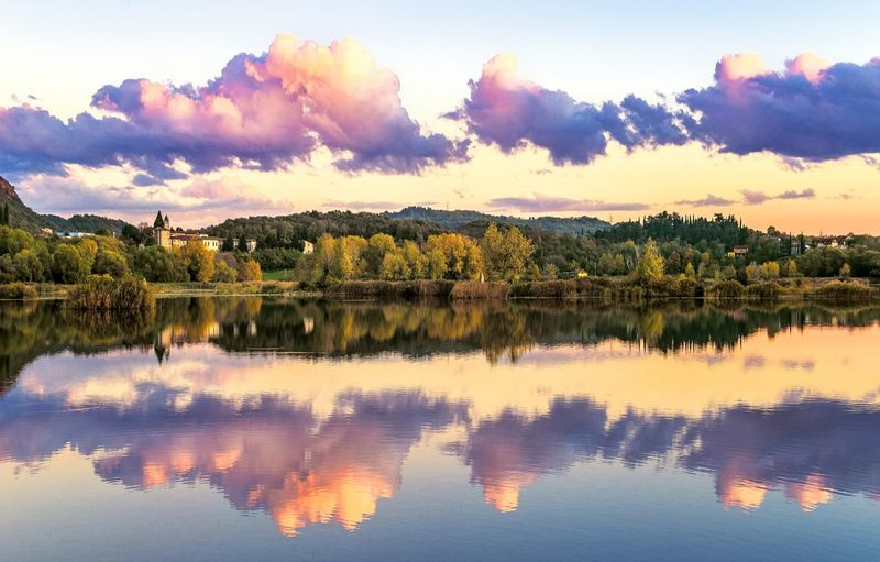 Reflection Lake Cloud - Sky Scenics Nature Beauty In Nature Sunset Outdoors Symmetry Sky No People Water Tranquility Eltano86 Colors Landscape Torbieredelsebino Lake View Nature Photography Beauty In Nature Nature Day Naturelovers Reflection Brescia, Italy