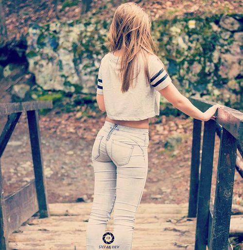 Girl Bridge Nature Jeans Spring Sunshine Warm