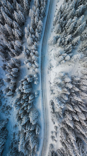 Aerial view of road amidst snow covered forest during winter