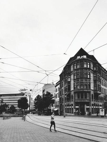 Saarbrucken Saarland Black And White House Building Street City Europe Transport Tramway